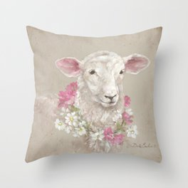 Sheep With Floral Wreath by Debi Coules Throw Pillow
