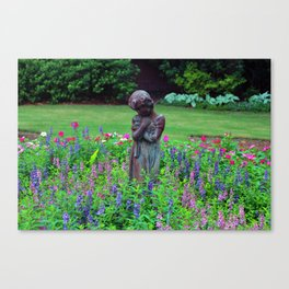 Child With Her Pet Statue Canvas Print