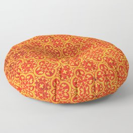 N67 - Yellow & Red Vintage Antique Geometric Traditional Moroccan Style. Floor Pillow