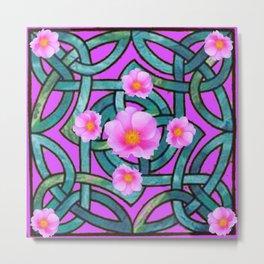 Mystical Wild Pink Celtic Roses Teal Purple Art Metal Print