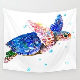 Sea Turtle, blue rainbow Wall Tapestry