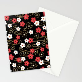 Black Sakura Kimono Pattern Stationery Cards