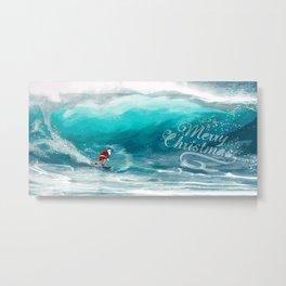 Santa Claus Surf Metal Print