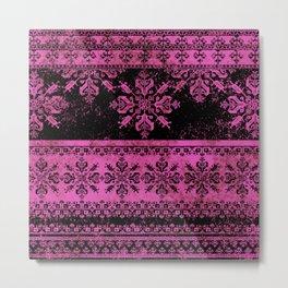 pink fair isle flake on black Metal Print