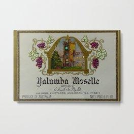 Vintage Green Clock Yalumba Moselle Wine Bottle Label Print Metal Print