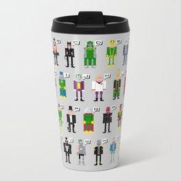 Pixel Supervillain Alphabet Metal Travel Mug