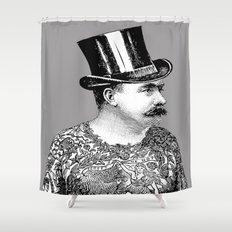 Tattooed Victorian Man Shower Curtain
