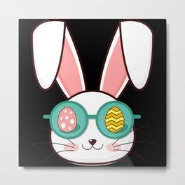 COOL BUNNY Funny Easter Gift Kids Egg Hunt Metal Print