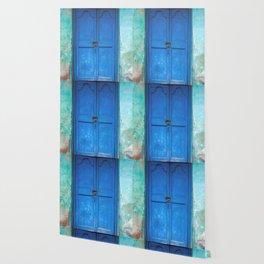 Blue Indian Door Wallpaper