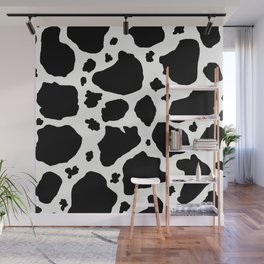 black and white animal print cow spots Wall Mural