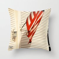 american flag Throw Pillows featuring American Flag by Agent Cake