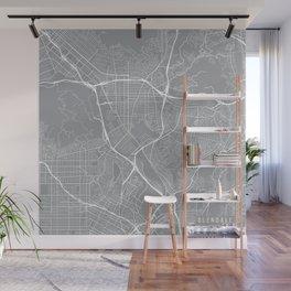 Glendale Map, California USA - Pewter Wall Mural