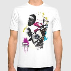 :: LOMO JUNKIE White Mens Fitted Tee MEDIUM