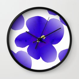 Large Retro Blue Flowers #1 White Background #decor #society6 #buyart Wall Clock