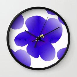 Large Retro Blue Flowers 1 White Background #decor #society6 #buyart Wall Clock