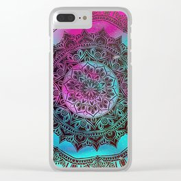 Ultra Violet And Teal Mandala Clear iPhone Case