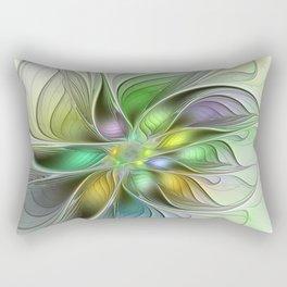 Colors Make My Day, Abstract Fractal Art Rectangular Pillow
