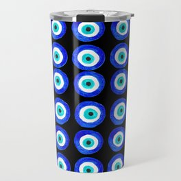 Evil Eye Amulet Talisman - on black Travel Mug