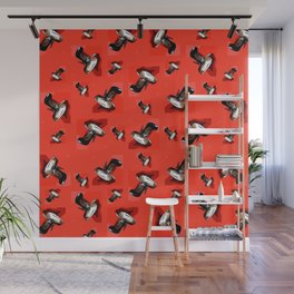 Black Pumps Pattern On Red Wall Mural