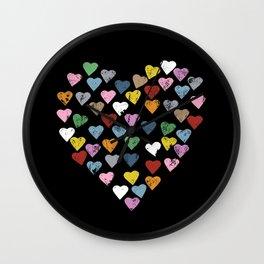 Distressed Hearts Heart Black Wall Clock