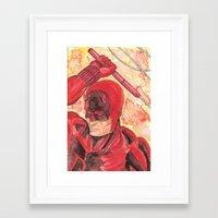 daredevil Framed Art Prints featuring Daredevil by Kirsten L George