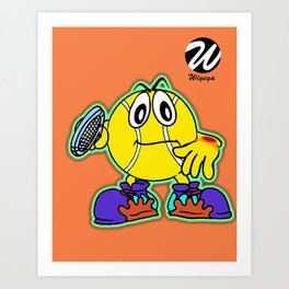 Comic character with Tennis Racket Art Print