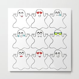 Ghost Emoji Shirt - Ghost Shirt - Ghost Halloween Shirt Metal Print