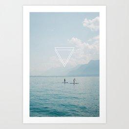 Paddle Board lake & triangles Art Print