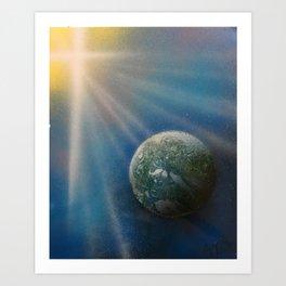 Sun Cross Earth Space Spray Paint Art Print