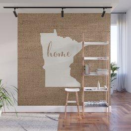 Minnesota is Home - White on Burlap Wall Mural