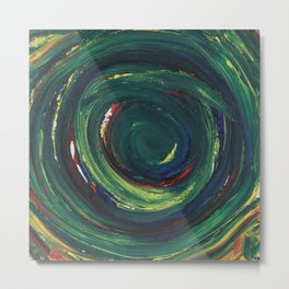 Green Spiral Metal Print