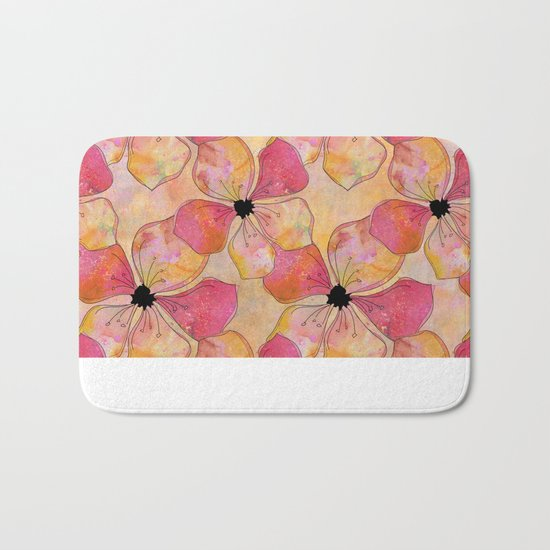 Floral watercolor pattern in pastel tones Bath Mat