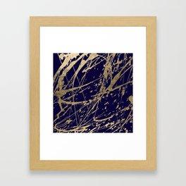 Elegant faux gold modern navy blue paint splatters Framed Art Print