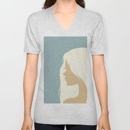 blonde girl in profile Unisex V-Neck