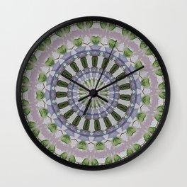 Clematis Kaleidoscope Lilac Mandala Pattern Wall Clock