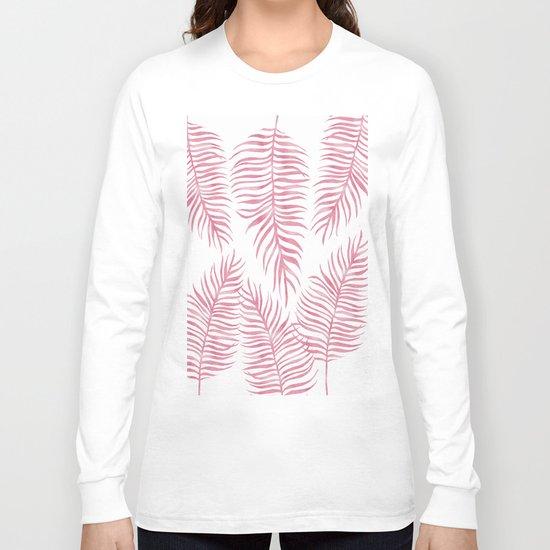 Fern Pattern Pink Long Sleeve T-shirt