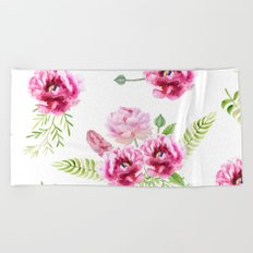 Wild Flowers Pink and Green Beach Towel