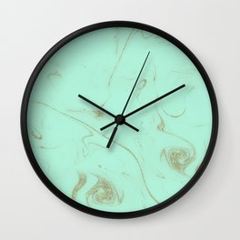 Elegant gold and mint marble image Wall Clock