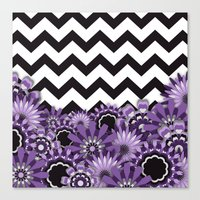 Purple Flower Chevron Canvas Print