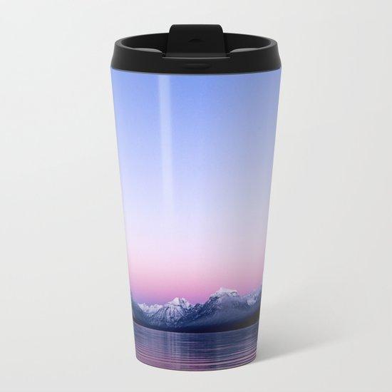 pastel mountain lake sunset Metal Travel Mug
