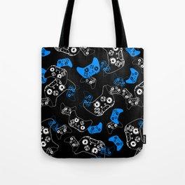 Video Game Blue on Black Tote Bag