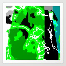 Green Turquoise black and white abstract Art Print