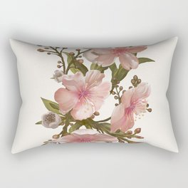 Blush Pink Watercolor Flowers Artwork Rectangular Pillow