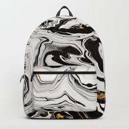 Black and Gold Liquid Paint Swirl Marble Pattern Backpack