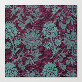 Burgundy Turquoise Velvet Floral Pattern 05 Canvas Print