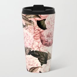Vintage & Shabby Chic Pink Floral camellia flowers watercolor pattern Metal Travel Mug