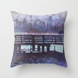 Skyline of downtown Seattle, Washington at dusk.  Watercolor batik painting of Seattle skyline. Throw Pillow