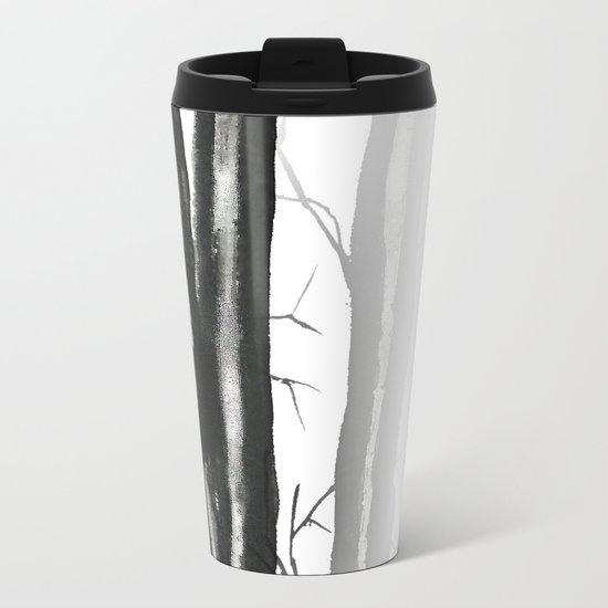 wood, snow and fog Metal Travel Mug