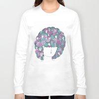hair Long Sleeve T-shirts featuring Hair by Regina Rivas Bigordá