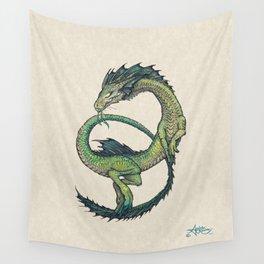 Rain Dragon by Amber Marine ~ Watercolor & Ink dragon/serpent art, (Copyright 2017) Wall Tapestry